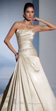 A beautiful satin Aline gown Ruched bodice finished off with beading  Lace up back